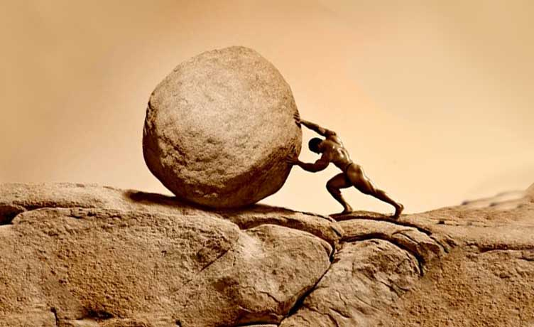 Image result for man pushing against a rock